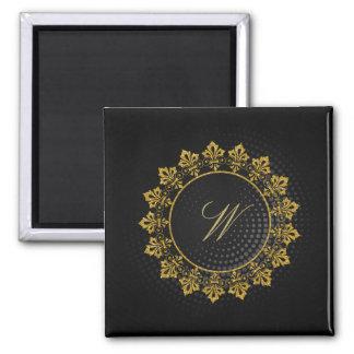 Ornate Circle Monogram on Black Circular Magnet