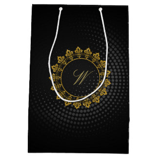 Ornate Circle Monogram on Black Circular Medium Gift Bag