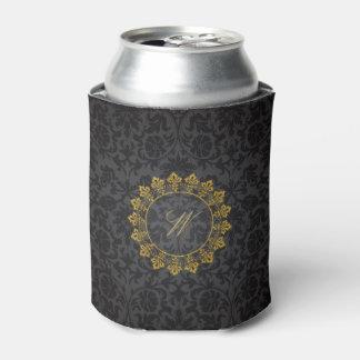 Ornate Circle Monogram on Black Damask Can Cooler
