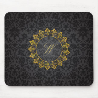 Ornate Circle Monogram on Black Damask Mouse Pad