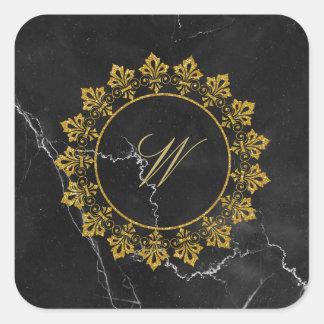 Ornate Circle Monogram on Black Marble Square Sticker