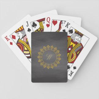 Ornate Circle Monogram on Chalkboard Playing Cards