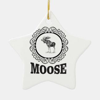 ornate circle moose ceramic ornament