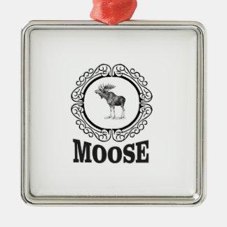 ornate circle moose metal ornament