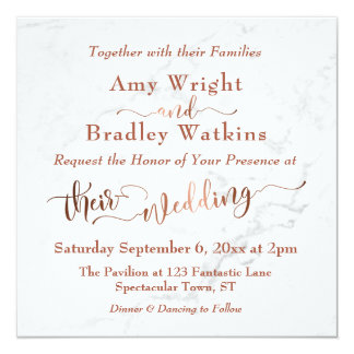 Ornate Copper Script w/ White Marble | Wedding Card