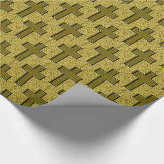 Ornate Cross-21-Black and Gold Wrapping Paper