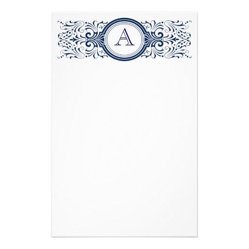 Ornate Customizable Monogram stationary Stationery Paper