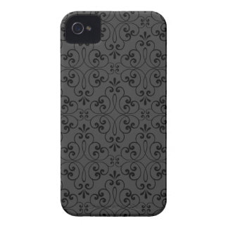 Ornate damask decorative black gray iPhone 4 case