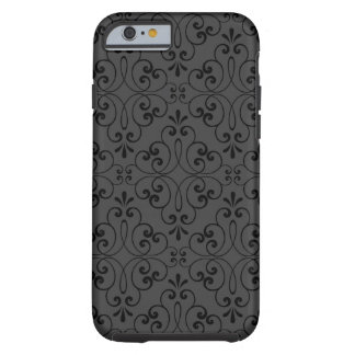 Ornate damask decorative black gray iPhone 6 case