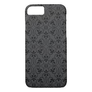 Ornate damask decorative black gray iPhone 7 case