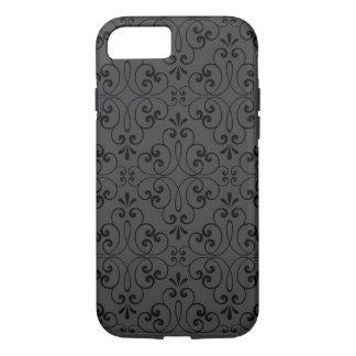 Ornate damask decorative black grey iPhone 7 case