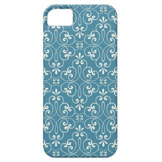 Ornate damask decorative denim blue iPhone 5 case