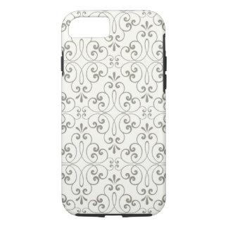 Ornate damask decorative grey cream iPhone 7 case
