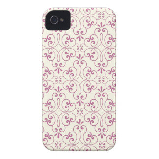 Ornate damask decorative plum cream iPhone 4 case