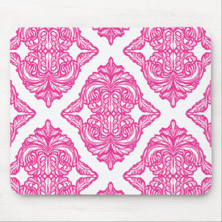 Ornate Damask Pink and White Mouse Pad