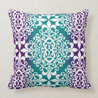 Ornate Damask Purple And Teal Ombre Cushion