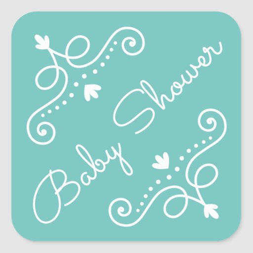 Ornate decorations on ocean blue baby shower square stickers