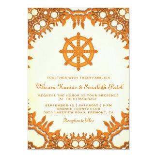 Ornate Dharma Wheel Indian Wedding Invitation