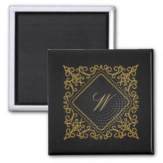 Ornate Diamond Monogram on Black Circular Magnet