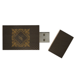 Ornate Diamond Monogram on Black Circular Wood USB Flash Drive