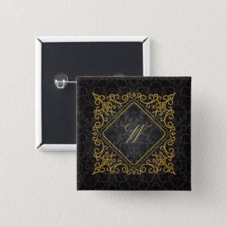 Ornate Diamond Monogram on Black Damask 15 Cm Square Badge