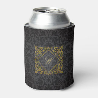 Ornate Diamond Monogram on Black Damask Can Cooler