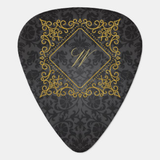 Ornate Diamond Monogram on Black Damask Guitar Pick