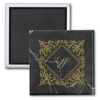 Ornate Diamond Monogram on Black Marble Magnet