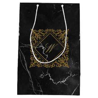 Ornate Diamond Monogram on Black Marble Medium Gift Bag