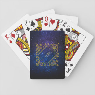 Ornate Diamond Monogram on Blue Galaxy Playing Cards