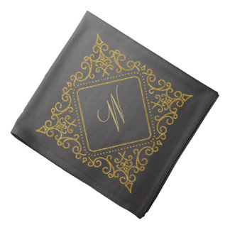 Ornate Diamond Monogram on Chalkboard Bandana