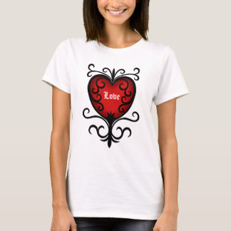 Ornate elegant dark red gothic heart T-Shirt