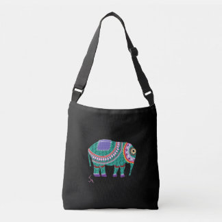 Ornate Elephant, Black Cross Body Bag