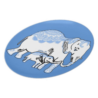 Ornate Elephants Blue and White Plate