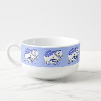 Ornate Elephants Blue and White Soup Mug
