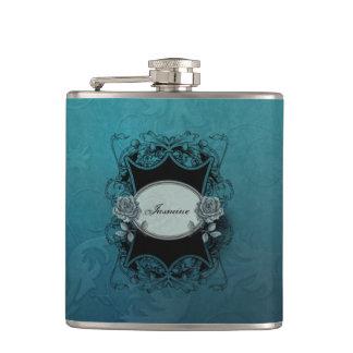 Ornate Engraved Blue Damask Hip Flask