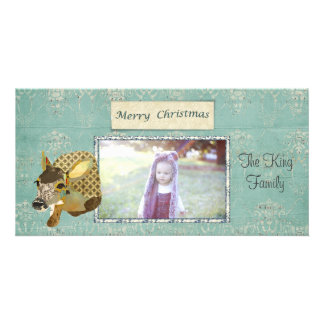 Ornate Fawn Merry Christmas Photo Card