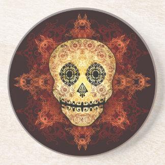 Ornate Flame Sugar Skull Coaster