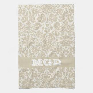 Ornate floral art nouveau pattern beige monogram tea towel