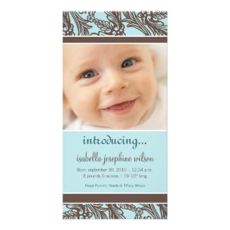 Ornate Floral (Brown/Blue) Birth Announcement Personalized Photo Card