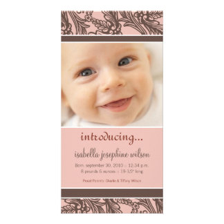 Ornate Floral (Brown/Coral) Birth Announcement Personalized Photo Card