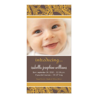 Ornate Floral (Brown/Gold) Birth Announcement Personalised Photo Card