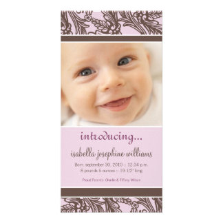Ornate Floral (Brown/Lilac) Birth Announcement Customized Photo Card
