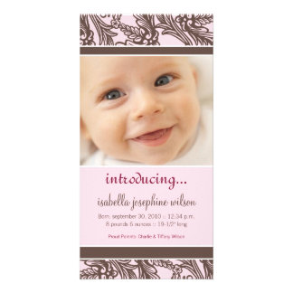 Ornate Floral (Brown/Pink) Birth Announcement Photo Greeting Card