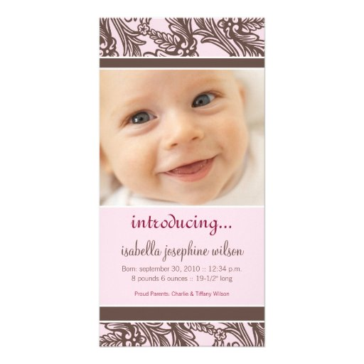 Ornate Floral (Brown/Pink) Birth Announcement Personalized Photo Card