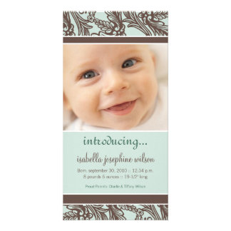 Ornate Floral (Brown/Sage) Birth Announcement Customised Photo Card