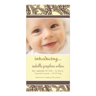 Ornate Floral (Brown/Yellow) Birth Announcement Personalised Photo Card