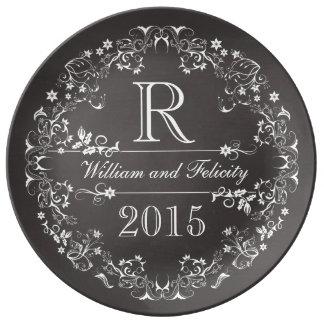 Ornate Floral Chalkboard Monogram Anniversary Year Plate