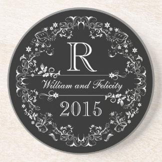Ornate Floral Chalkboard Monogram Wedding Year Coaster