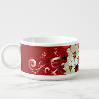 Ornate Floral Flourish | red Small Soup Bowl With Handle